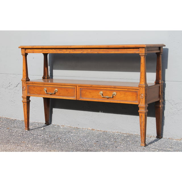 Traditional 1960s Traditional Walnut 2 Drawer Hall Console Table For Sale - Image 3 of 13