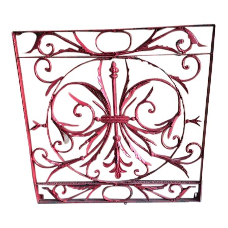 19th Century Vintage French Wrought Iron Grille For Sale