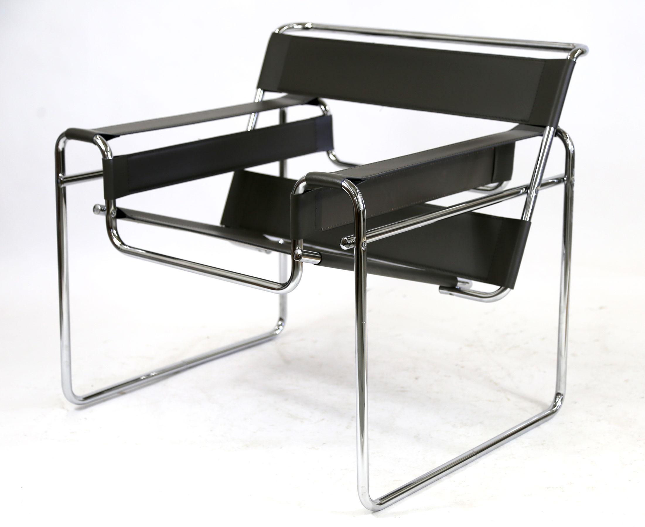 Good Reproduction Wassily Chair Marcel Breuer Black Leather And Chrome Tube  Frame   Image 9 Of 9
