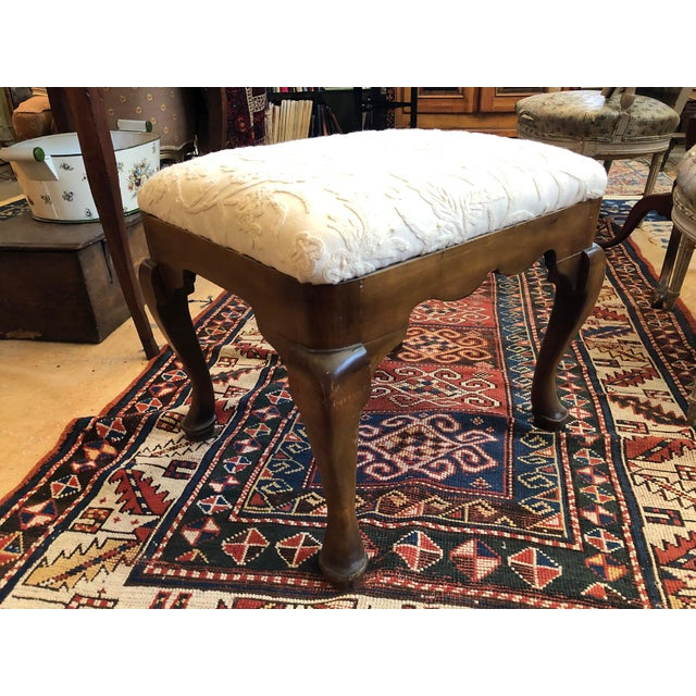 Queen Anne 19th Century Walnut Queen Anne Revival Style Stool For Sale - Image 3 of 9