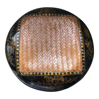 Asian Black Lacquer Woven Box