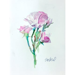 Pink Rose Original Watercolor Painting For Sale