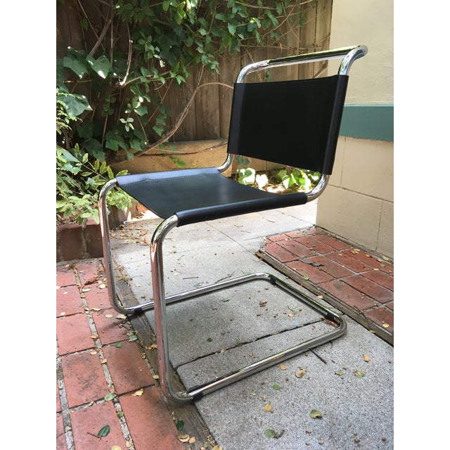 Mid-Century Modern Breuer Spoleto Black Leather & Cantilevered Tubular Chrome Dining Chair For Sale In San Francisco - Image 6 of 6