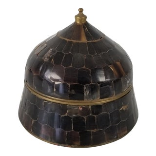 Vintage Tessellated Horn and Brass Decorative Box For Sale