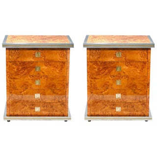 Italian Pair of Willy Rizzo Burl Brass and Chrome Chests of Drawers, 1970s For Sale