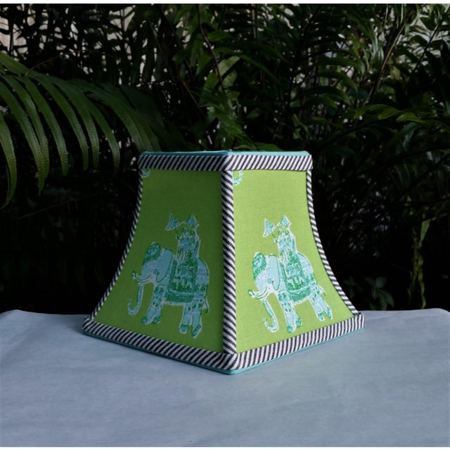 Green Lilly Pulitzer Fabric Clip on Coastal Elephant Lampshade For Sale - Image 11 of 11