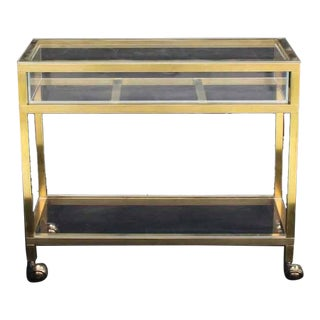 Brass and Lucite Cart Showcase For Sale