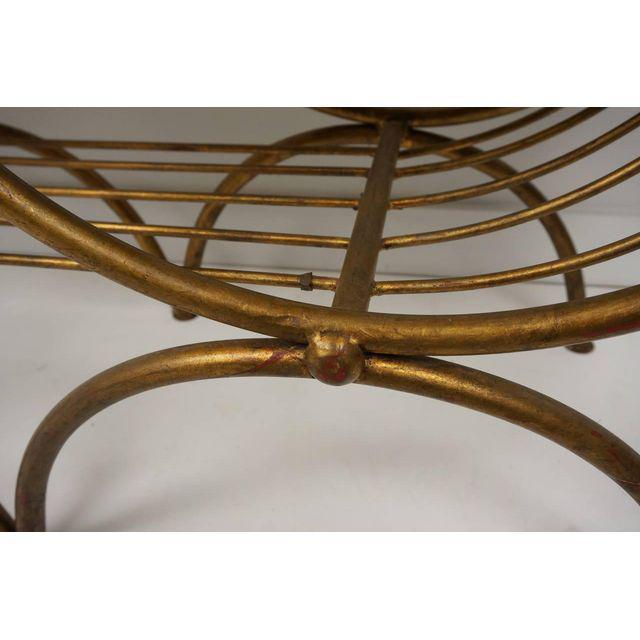 Hollywood Regency Style Gold Gilt Metal Tiger Pattern Fabric Cushion Bench - Image 9 of 10