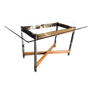 Bamboo & Stainless Steel Table For Sale