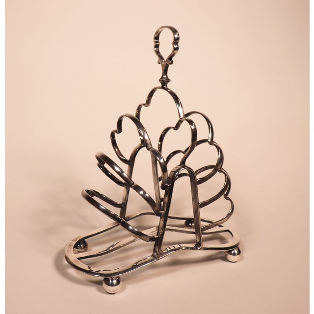 1950s 1950's English Silver Plated Toast Rack For Sale - Image 5 of 13