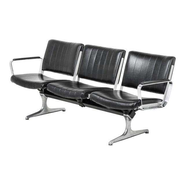 Chromcraft Black 3-Seat Original Vinyl Airport Bench For Sale