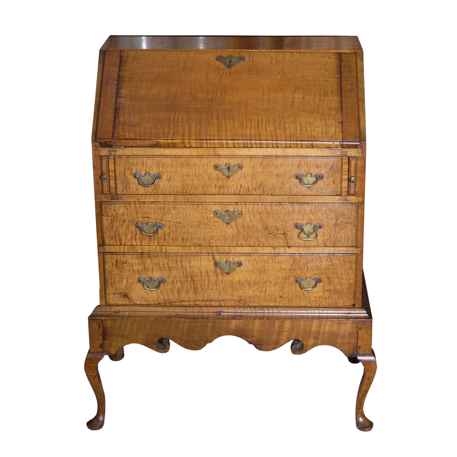 Late 19th Century Vintage American Tiger Maple Queen Anne Child S