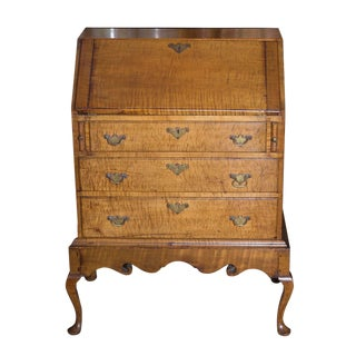 Late 19th Century Vintage American Tiger Maple Queen Anne Child's Desk For Sale