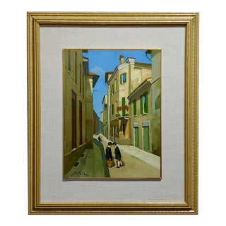 Lucio Sollazzi -School Boys at Play-Beautiful Italian Oil Painting C.1960s For Sale