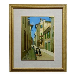Lucio Sollazzi -School Boys at Play-Beautiful Italian Oil Painting C.1960s