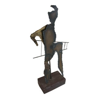 Late-20th Centyry Brutalist Metal Figure on Wood Base