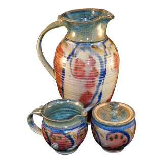 Mid-century Marbled Stoneware Coffee Service Set - Set of 3 For Sale