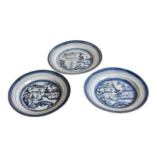 Antique Cloud & Rain Canton Blue & White Chinese Export Plates - Set of 3 For Sale