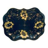 Image of England Chippendale Large Hand Painted Black Gold Tole Tray For Sale