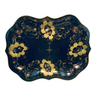 England Chippendale Large Hand Painted Black Gold Tole Tray For Sale