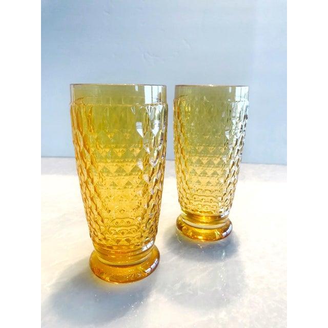 Glass Set of Seven Vintage Villeroy & Boch Crystal Highball Glasses in Amber For Sale - Image 7 of 13