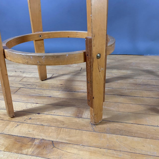 """Red Mid-Century Bentwood Birch 26"""" Stool, Wool Upholstery For Sale - Image 8 of 9"""