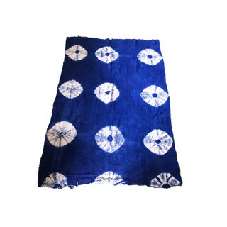 """African Bogolan Textile Mud Cloth Blue & White 42"""" by 61"""" For Sale"""
