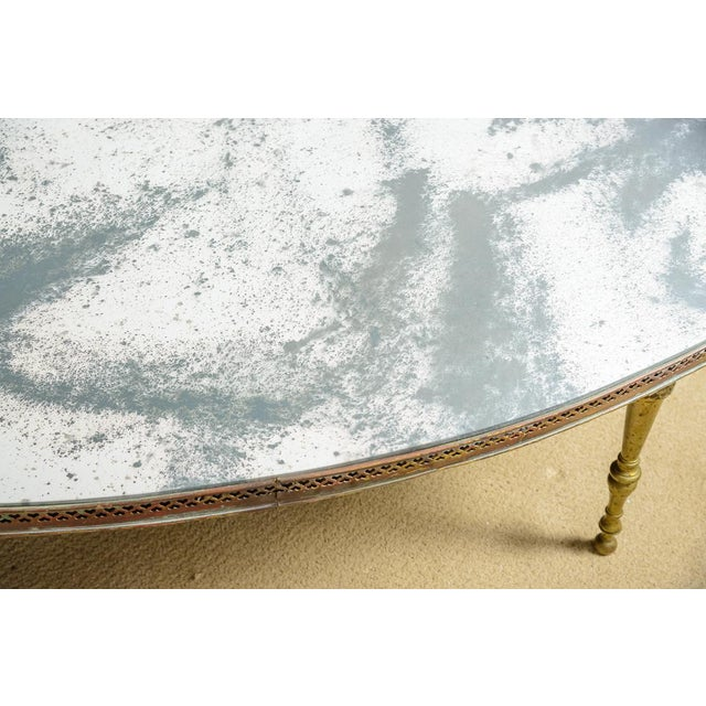 Brass French Mirrored Top Cocktail Table With Brass Gallery & Bronze Legs, C.1940-50 For Sale - Image 8 of 11