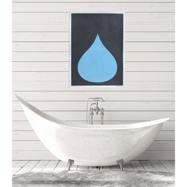 Stephanie Henderson Fat Drop of Cool Blue on Graphite Acrylic Painting by Stephanie Henderson For Sale - Image 4 of 5