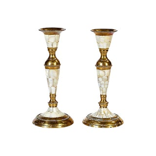Abalone & Brass Candleholders, Pair For Sale