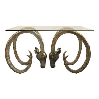 20th Century Hollywood Regency Ibex Rams Head Console Table For Sale