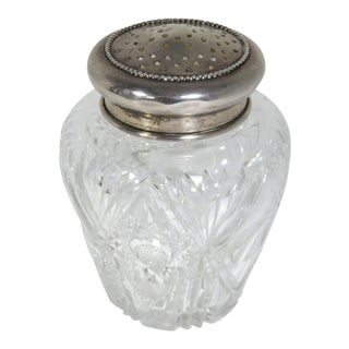 Early 20th Century Antique Crystal & Sterling Silver Sugar Shaker
