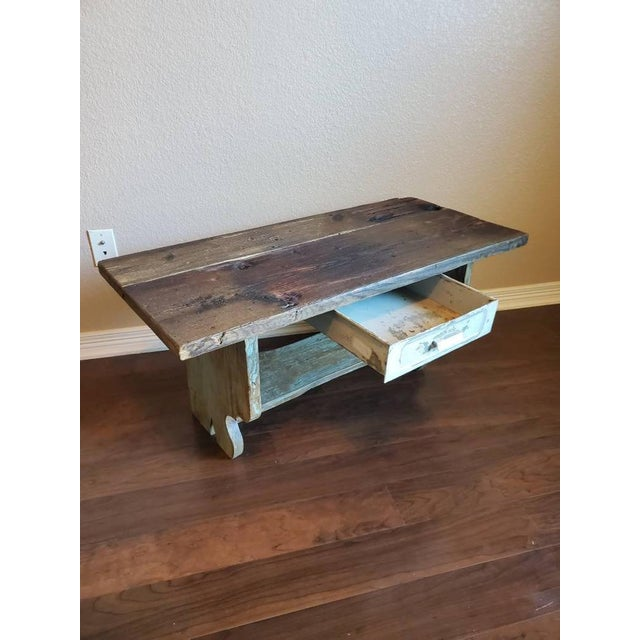 Antique Rustic American Country Farmhouse Wooden Bench For Sale - Image 4 of 11