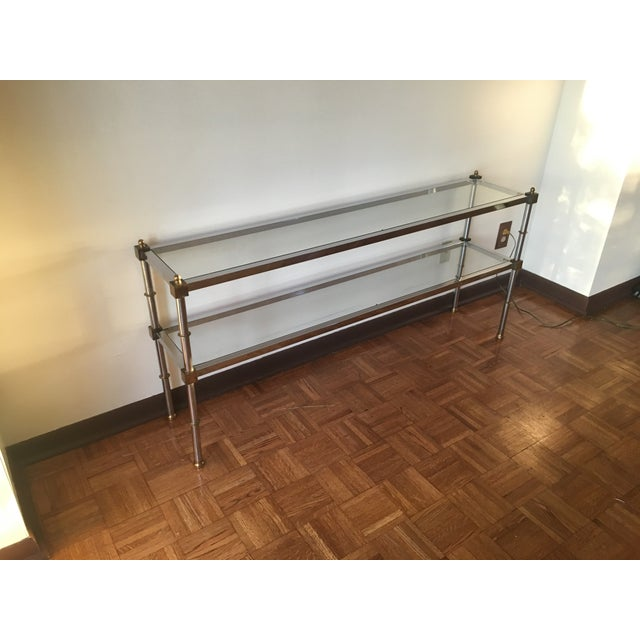 Chrome, Brass & Glass Console Table, 1970s - Image 6 of 6