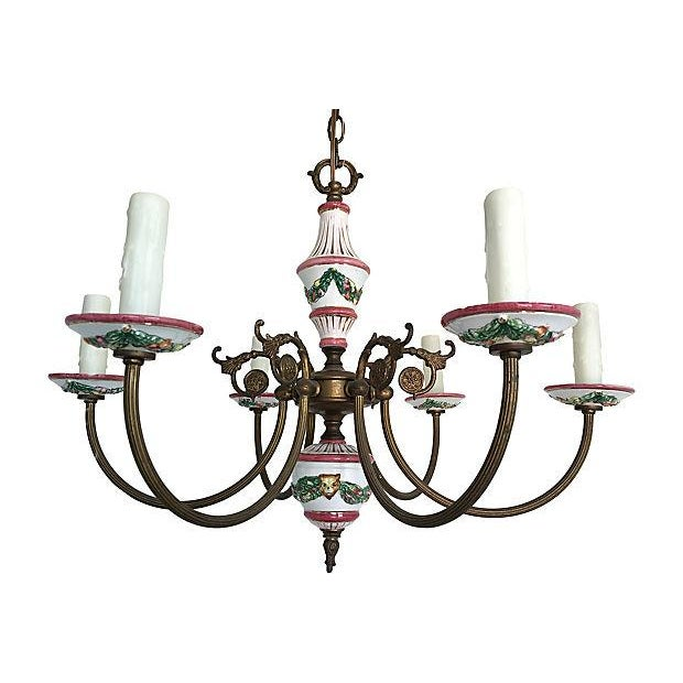 1940s French Porcelain Chandelier For Sale