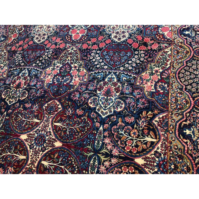 Palatial Antique Persian Carpet With Red Border, Blues, Reds, Creams, Kermin For Sale - Image 10 of 13