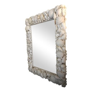 Large White Shell Encrusted Mirror