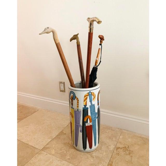 Off-white Vintage Ceramic Umbrella Stand For Sale - Image 8 of 9