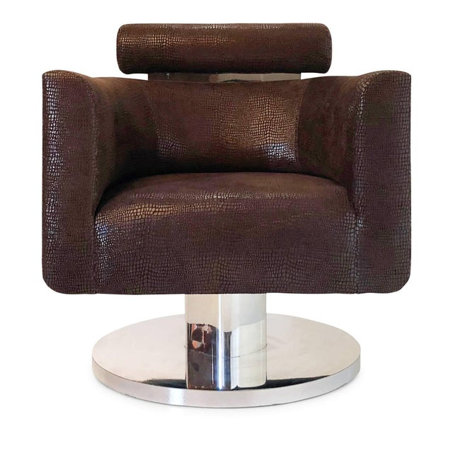 """Handsomely designed """"Gigi"""" swivel lounge chair for Couture. This elegant armchair features the use of clean, minimal..."""