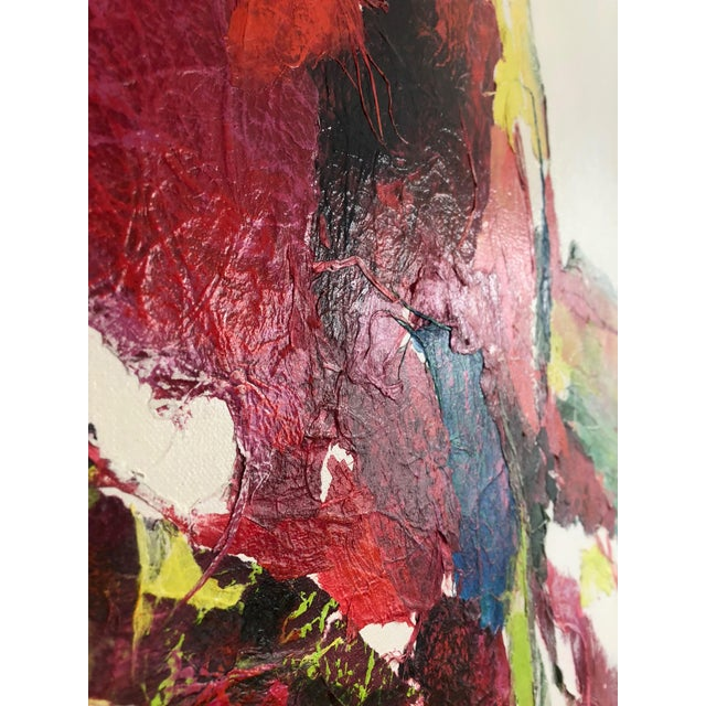 Large Vintage Abstract Paint and Paper Mache on Canvas by Nettie Hardman For Sale In San Francisco - Image 6 of 12