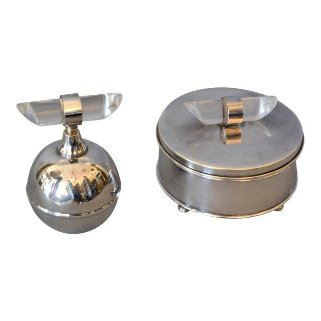 Mid-Century Modern Silver Plate & Lucite Perfume Bottle & Powder Box 2 Pc. Vanity Set For Sale
