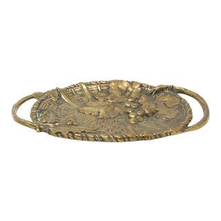 Antique Jan Van Neste Art Nouveau Bronze Decorative Tray With Grape Leaves For Sale