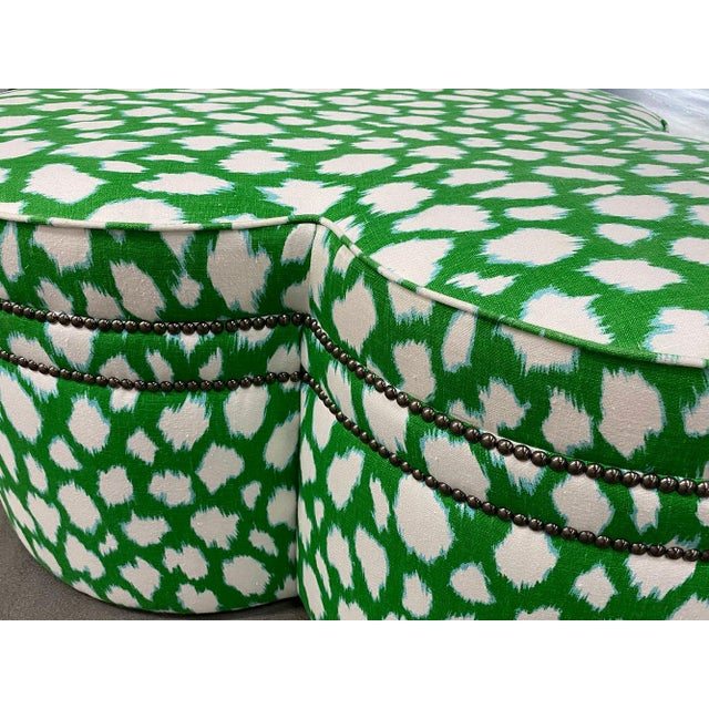 Contemporary Large Cloverleaf-Shaped Ottoman Upholstered in Kate Spade Fabric For Sale - Image 4 of 9