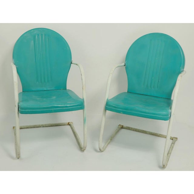 Mid Century Metal Lawn Garden Patio Chairs by Shott - a Pair For Sale - Image 9 of 13