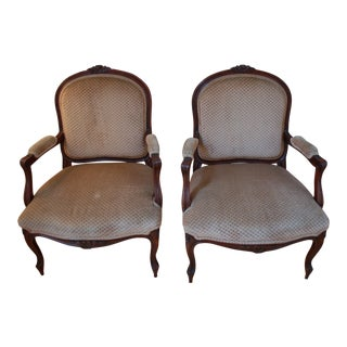 French Louis XV Arm Chairs - a Pair For Sale