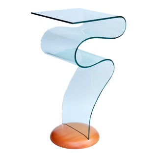 Fiam Italia Attributed Glass Ribbon Table For Sale