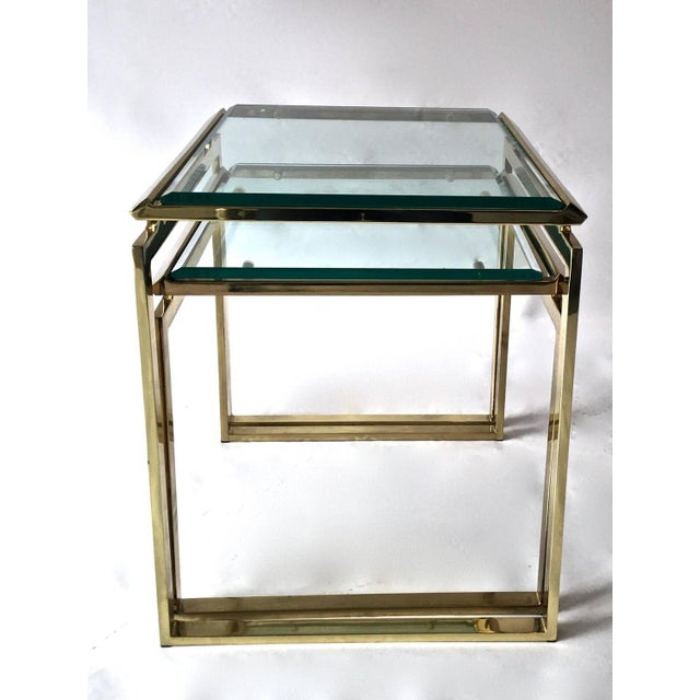 Mid-Century Brass & Glass Nesting Tables - A Pair - Image 5 of 10