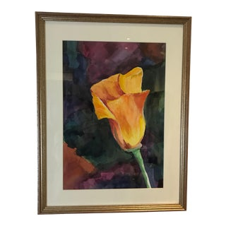 Late 20th Century Tulip Watercolor Painting For Sale