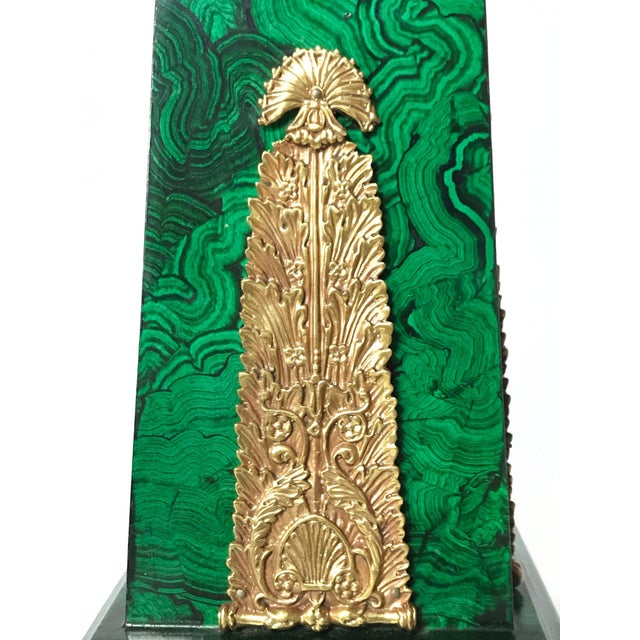 Metal Maitland Smith Faux Malachite and Brass Finish Obelisk Candelabras - a Pair For Sale - Image 7 of 11