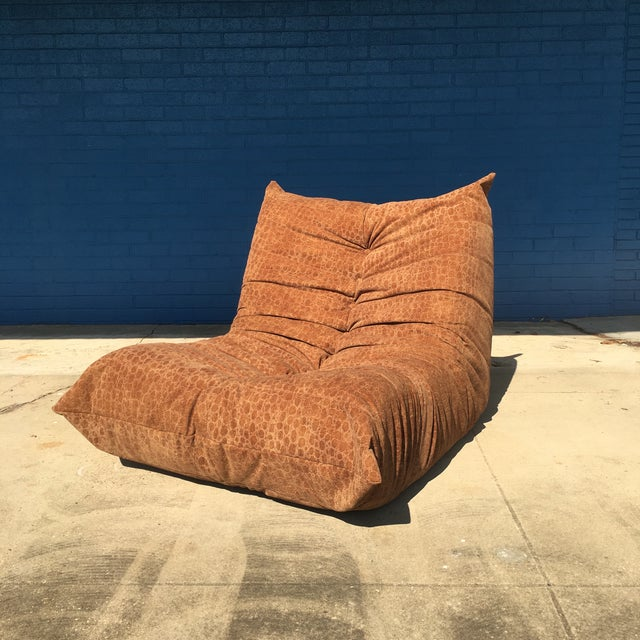 Vintage Togo Fireside Chair With Custom Faux Alligator Suede For Sale - Image 13 of 13